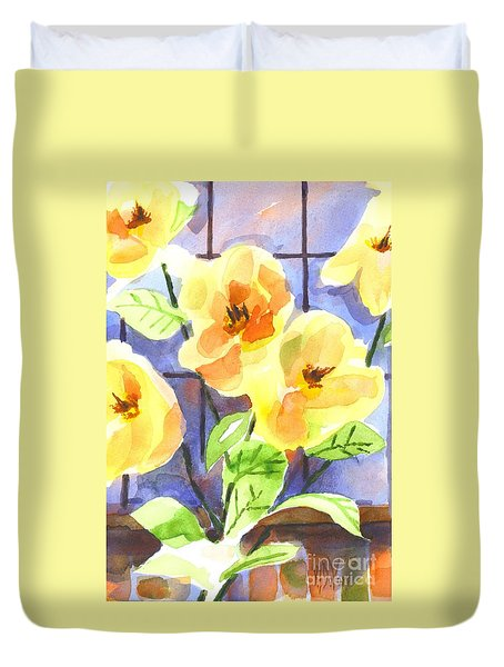 Duvet Cover featuring the painting Magnolias by Kip DeVore