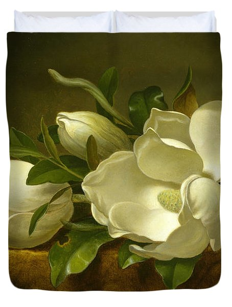 Magnolias On Gold Velvet Cloth Duvet Cover
