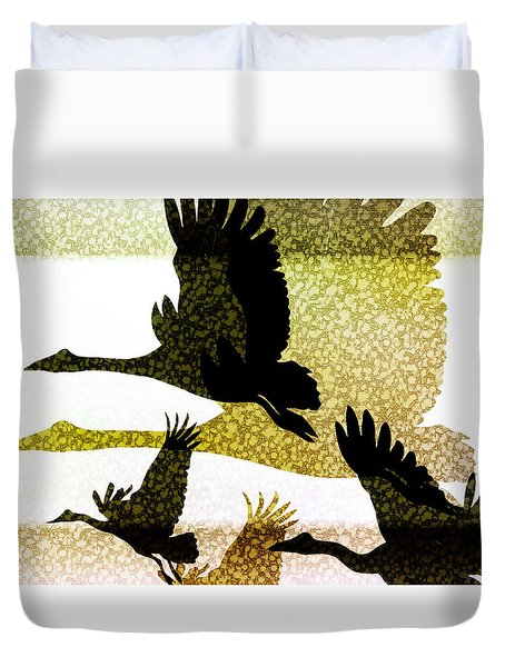 Duvet Cover featuring the digital art Magpie Geese In Flight by Holly Kempe