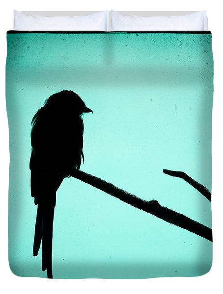 Duvet Cover featuring the photograph Magpie Shrike Silhouette by Gary Heller
