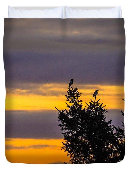 Magpies At Sunrise Duvet Cover