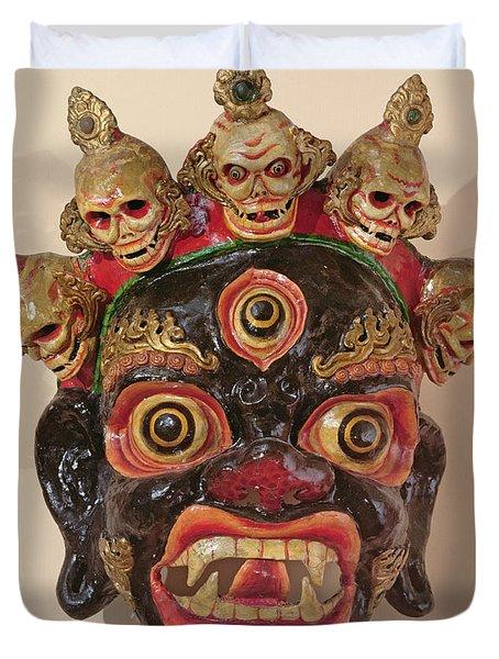 Mahakala Dance Mask Painted Wood Duvet Cover