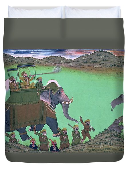 Maharana Sarup Singh Of Udaipur Shooting Boar From Elephant-back, Rajasthan, 1855  Duvet Cover