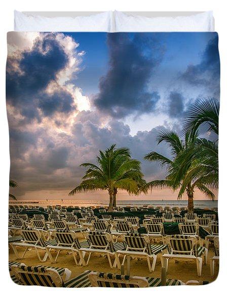 Mahogany Bay Beach-roatan-honduras Duvet Cover