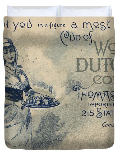 Maid Serving Coffee Advertisement For Woods Duchess Coffee Boston  Duvet Cover by American School