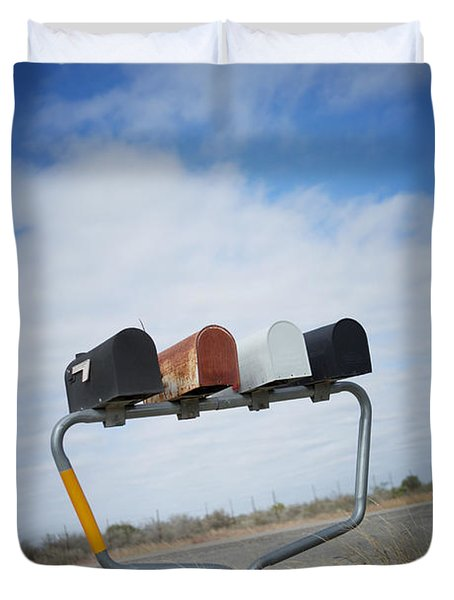 Duvet Cover featuring the photograph Mailboxes by Erika Weber