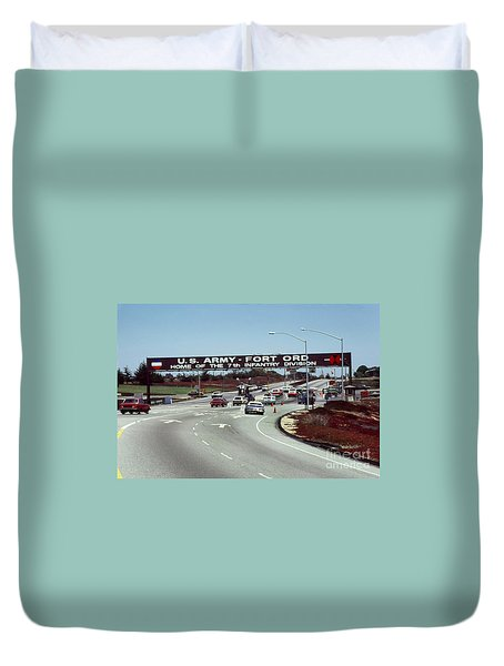 Main Gate 7th Inf. Div Fort Ord Army Base Monterey Calif. 1984 Pat Hathaway Photo Duvet Cover