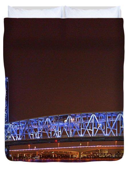 Main Street Bridge Jacksonville Duvet Cover by Christine Till
