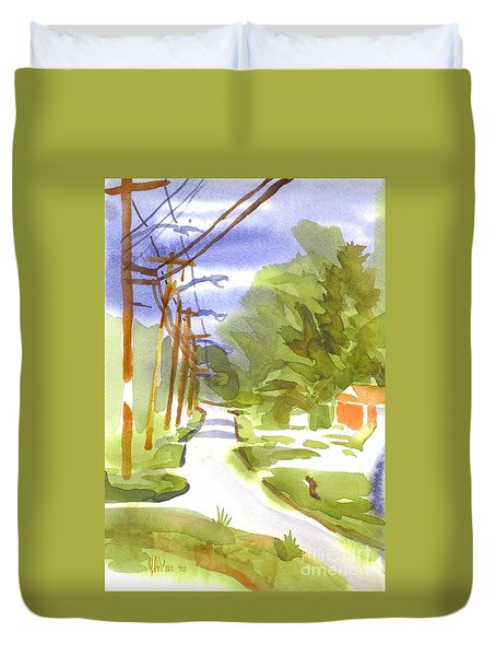 Main Street On A Cloudy Summers Day Duvet Cover by Kip DeVore