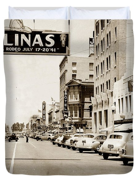 Main Street Salinas California 1941 Duvet Cover
