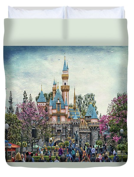 Main Street Sleeping Beauty Castle Disneyland Textured Sky Duvet Cover
