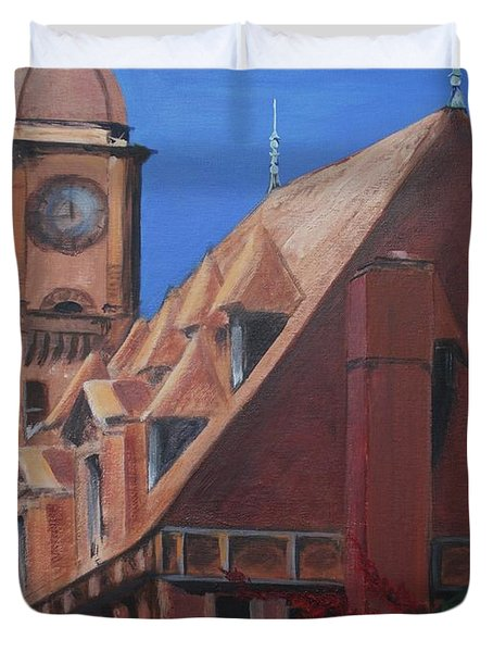 Duvet Cover featuring the painting Main Street Station by Donna Tuten