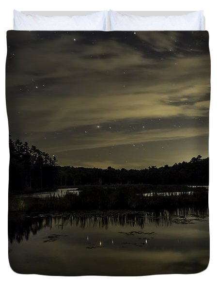 Maine Beaver Pond At Night Duvet Cover by Patrick Fennell
