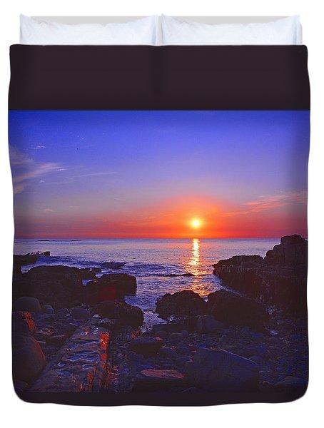 Maine Coast Sunrise Duvet Cover