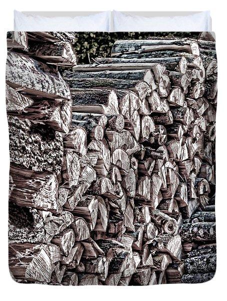 Maine Firewood Duvet Cover