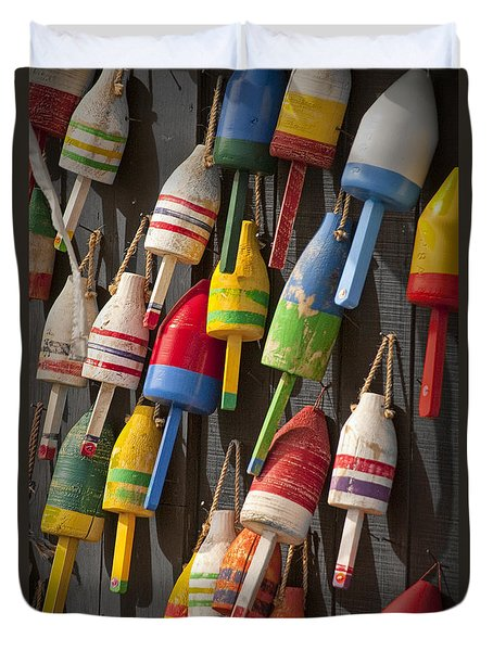 Maine Fishing Buoys Duvet Cover