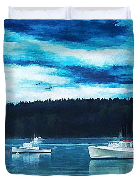 Maine Harbor Duvet Cover by Darren Fisher