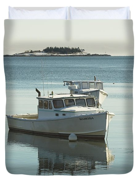 Maine Lobster Boats In Winter Duvet Cover by Keith Webber Jr