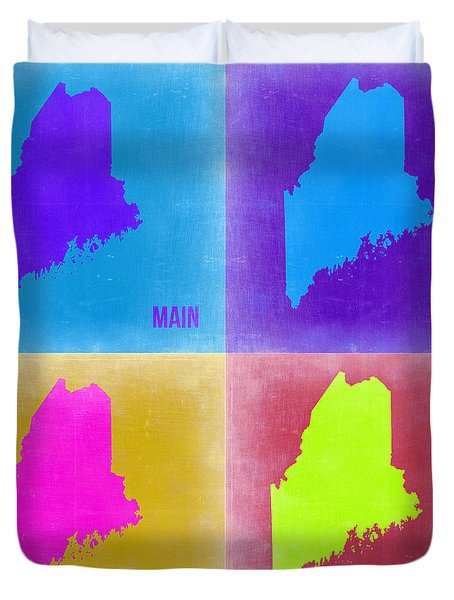 Maine Pop Art Map 2 Duvet Cover by Naxart Studio