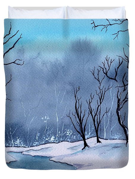 Maine Snowy Woods Duvet Cover