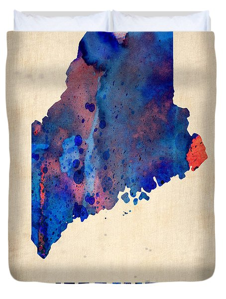 Maine Watercolor Map Duvet Cover by Naxart Studio