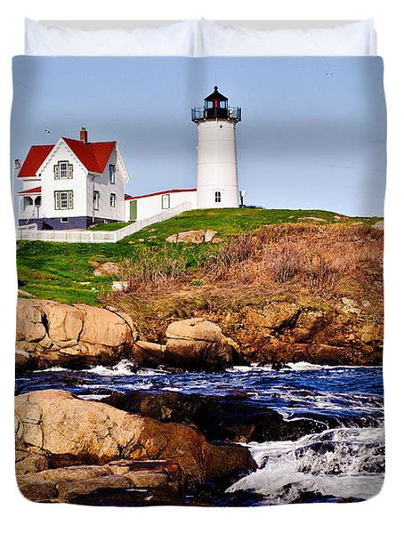 Duvet Cover featuring the photograph Maine's Nubble Light by Mitchell R Grosky
