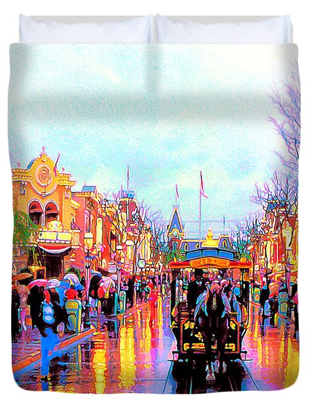 Duvet Cover featuring the photograph Mainstreet Disneyland by David Lawson