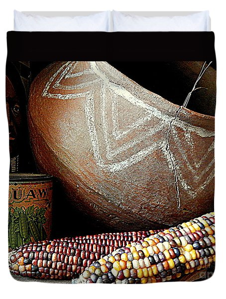 Pottery And Maize Indian Corn Still Life In New Orleans Louisiana Duvet Cover by Michael Hoard