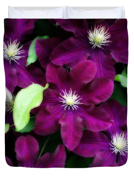 Majestic Amethyst Colored Clematis Duvet Cover