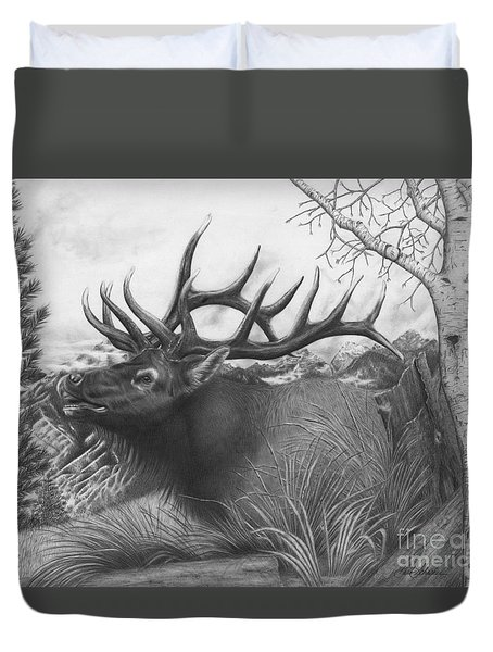 Majestic Bull Elk Duvet Cover