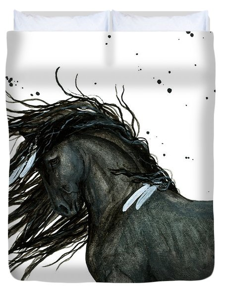Majestic Friesian Horse 112 Duvet Cover by AmyLyn Bihrle