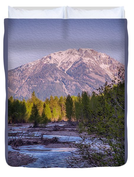 Majestic Mountain Morning Duvet Cover by Omaste Witkowski