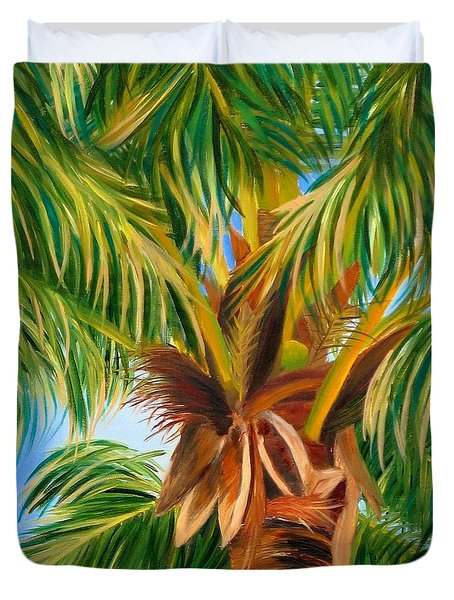 Duvet Cover featuring the painting Majestic Palm by Shelia Kempf