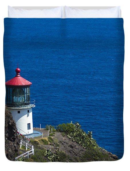 Makapuu Lighthouse 1 Duvet Cover by Leigh Anne Meeks