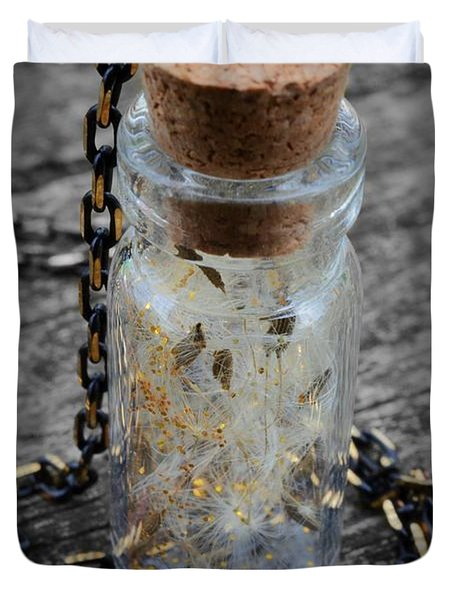 Make A Wish - Dandelion Seed In Glass Bottle With Gold Fairy Dust Necklace Duvet Cover