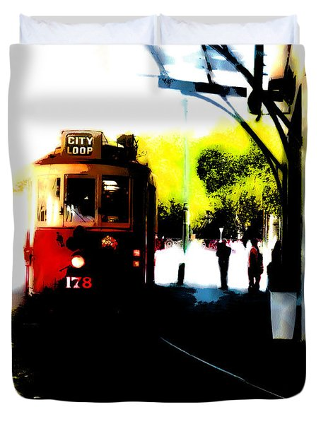 Make Way For The Tram  Duvet Cover by Steve Taylor
