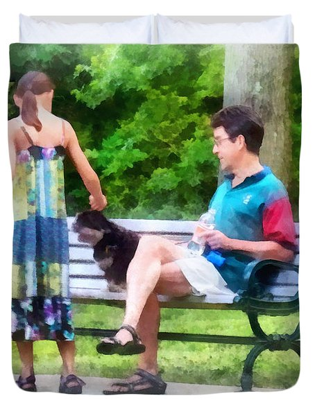 Making A New Friend In The Park Duvet Cover by Susan Savad