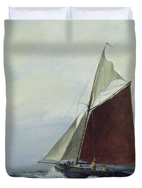 Making Sail After A Blow Duvet Cover by Vic Trevett