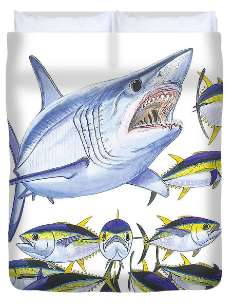 Mako Attack Duvet Cover by Carey Chen
