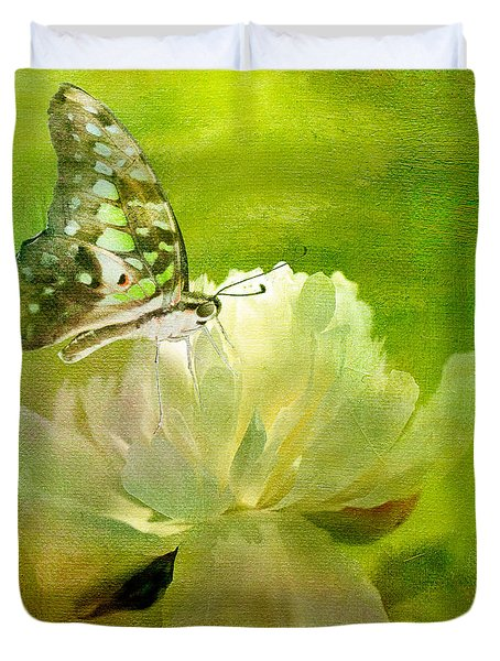 Malachite On Peony Duvet Cover by Lois Bryan