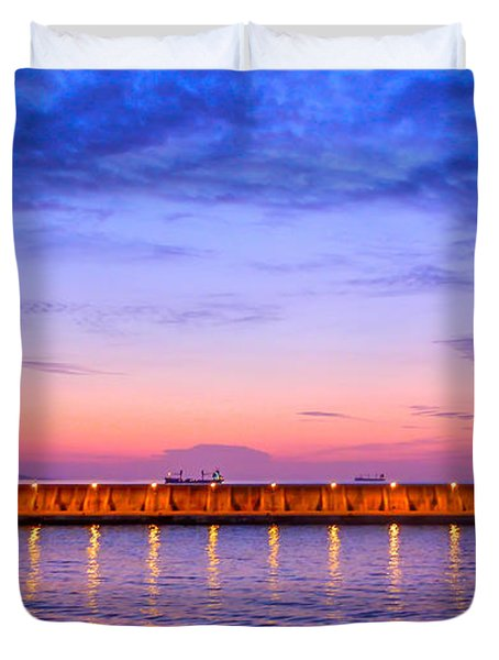 Malaga Pink And Blue Sunrise  Duvet Cover by Debra Martz