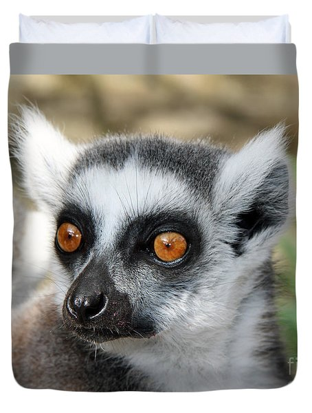 Duvet Cover featuring the photograph Malagasy Lemur by Sergey Lukashin
