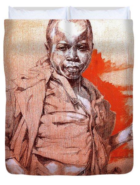 Malawi Child Sketch Duvet Cover by Derrick Higgins