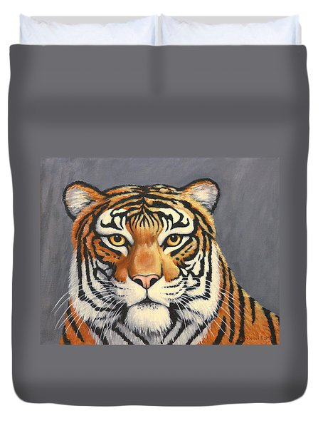 Malayan Tiger Portrait Duvet Cover by Penny Birch-Williams