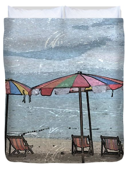 Malazy Day At The Beach Duvet Cover