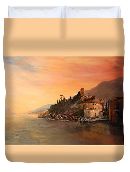 Duvet Cover featuring the painting Malcesine Lake Garda Italy by Jean Walker