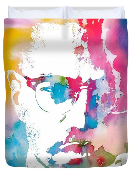 Malcolm X Watercolor Duvet Cover