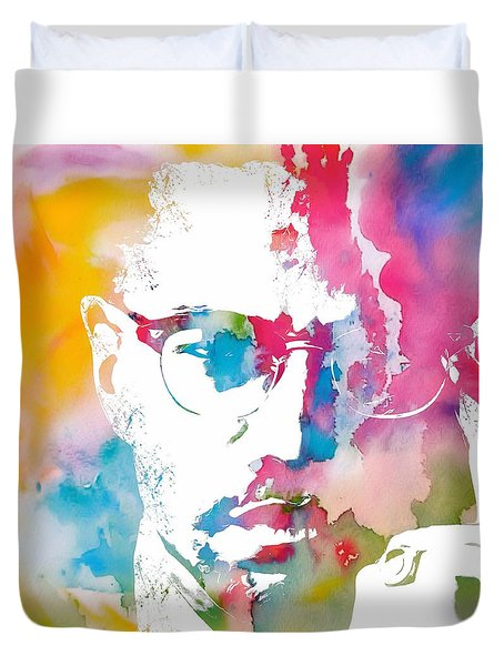 Malcolm X Watercolor Duvet Cover by Dan Sproul