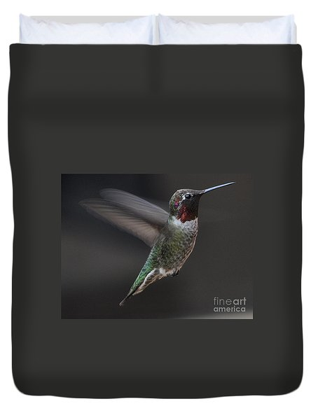 Duvet Cover featuring the photograph Male Anna Hummingbird In Flight by Jay Milo