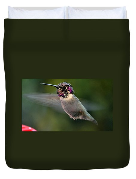 Duvet Cover featuring the photograph Male Anna's In Flight by Jay Milo